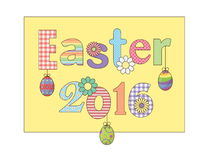 Colorful Happy Easter 2016 greeting card with flowers eggs and fancy patterned font. For cards, banners, etc.  Stock Photo
