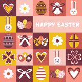 Colorful Happy Easter greeting card with flowers eggs and rabbit elements composition. Cute Happy Easter greeting card.  Royalty Free Stock Photography