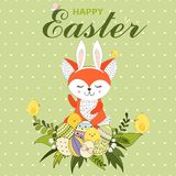 Colorful Happy Easter greeting card with fox with rabbit ears, little chickens, Easter eggs, flower and text. Easter background. H stock illustration