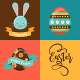 Colorful Happy Easter greeting card with rabbit, bunny, eggs and banners Stock Photography