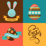 Colorful Happy Easter greeting card with rabbit, bunny, eggs Royalty Free Stock Photo