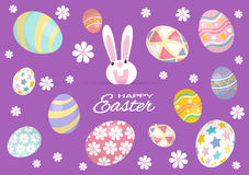 Colorful Happy Easter greeting card with rabbit, bunny and eggs. Vector Stock Photos