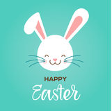 Colorful Happy Easter greeting card with rabbit, bunny and text Stock Images