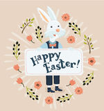 Colorful Happy Easter greeting card with rabbit, bunny Stock Photo