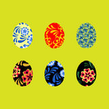 Colorful Happy Easter greeting illustration with eggs Stock Image