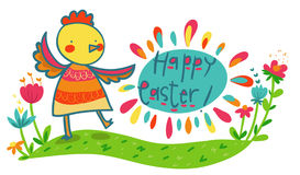 Colorful happy easter illustrated card Royalty Free Stock Images