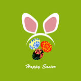Colorful Happy Easter illustration with rabbit, eggs and text Royalty Free Stock Photo