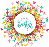 Colorful Happy Easter and spring greeting card, poster with butterflies Stock Photography
