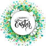 Colorful Happy Easter and spring greeting card, poster with flowers Royalty Free Stock Photos
