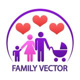 Colorful happy family logo - parents with child and baby Royalty Free Stock Image