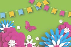 Colorful Happy Floral Greeting Card. Paper cut Flowers, Butterfly. Origami flower. Flag garland. Spring blossom. Seasonal holiday on green. Traditional paper vector illustration