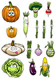 Colorful happy garden vegetables cartoon Royalty Free Stock Photography