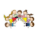 colorful happy group cartoon children Royalty Free Stock Photography