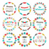 Colorful Happy Halloween circle pattern emblems set Stock Image