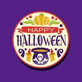 Happy Halloween sticker with lettering, pumpkin, cauldron with a potion and candles. Autumn holiday celebration. Flat. Colorful happy Halloween round sticker Royalty Free Stock Images