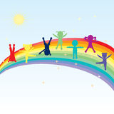 Colorful happy kids standing on a rainbow. Illustration of colorful happy kids standing on a rainbow Stock Photos