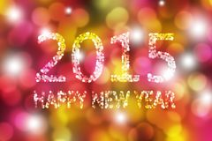 Colorful Happy New Year Abstract Background. Colorful 2015 Happy New Year Bokeh Abstract Background Vector Illustration