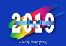 Colorful Happy new year 2019 with bow and diamond. Vector illustration vector illustration
