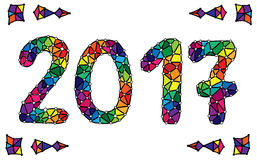 Colorful Happy New Year 2017 calendar cover on white. Typographic vector illustration. For coloring book, card, invitation, posters, texture backgrounds Royalty Free Stock Photos