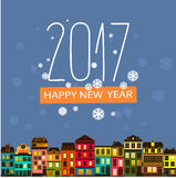 Colorful happy 2017 new year greetings card. With houses and snowflake on blue background for book cover, backdrops, cd covers, greeting card cover Stock Images