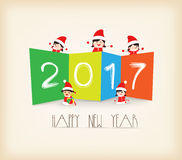 Colorful Happy New Year 2017 kids background.  Royalty Free Stock Photo
