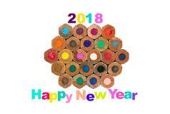 Colorful happy new year 2018 with polygon pencil stock image