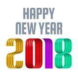 Colorful 2018 happy new year red ribbon on white background. Colorful 2018 happy new year colorful ribbon on white background vector illustration