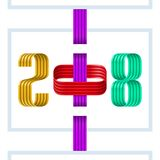 Colorful 2018 happy new year red ribbon on white background. Colorful 2018 happy new year colorful ribbon on white background stock illustration