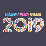 Colorful new year 2018 greeting design. Colorful happy new year 2019 text design with gear concept design royalty free illustration