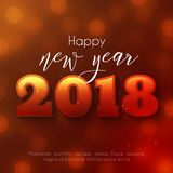 Colorful Happy New Year 2018 text design. Colorful Happy New Year text design. Vector greeting illustration with 2018 numbers and bokeh Stock Image