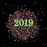 Colorful Happy New year 2019 wishes with dots and confetti elements. Colorful Happy New year 2019 wishes with clusters of dots and confetti elements on a black stock illustration