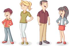 Colorful happy people. Cartoon family Royalty Free Stock Photography