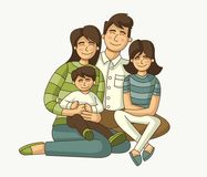 Colorful happy people. Cartoon family Stock Photos