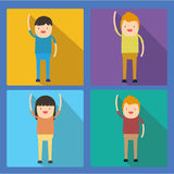Colorful happy people flat icon Stock Image