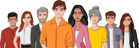 Colorful happy people. Group of cartoon young people Royalty Free Stock Images