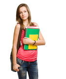 Colorful happy student girl. Stock Images