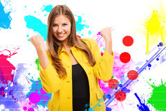 Colorful happy woman portrait Royalty Free Stock Photo