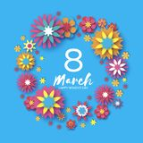 Colorful Happy Women s Day. 8 March. Trendy Mother s Day. Paper cut Floral Greeting card. Origami flowers flying around Royalty Free Stock Images