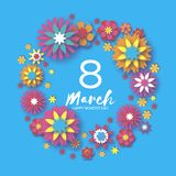 Colorful Happy Women`s Day. 8 March. Trendy Mother`s Day.  Royalty Free Stock Photo