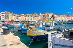 Colorful harbor famous resort Saint Tropez on french riviera, cote d`azur, France stock photography