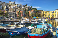 Colorful harbor of Naples Stock Images