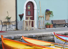 Colorful harbor-side bar stock photo
