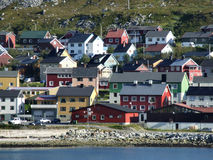 Colorful harbor town in Scandinavia Royalty Free Stock Photo