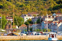 Colorful harbor of Zlarin island royalty free stock photography