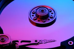 Colorful Hard Disk. Colorful computer hard disk platter royalty free stock photography