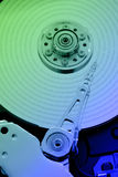 Colorful Hard Disk memory. Close up of a fixed disk drive (hard disk) with store data Stock Image