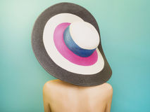 Colorful hat. Beautiful Woman in Hat. Fashion portait. Elegance back of Beauty Girl. colorful hat Royalty Free Stock Image
