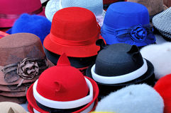 Colorful hat with decoration. Various of hat in different color and beautiful decoration, shown as same type and difference or colorful dress and clothing Stock Image