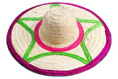 Colorful hat made of woven bamboo isolated on white. stock photos