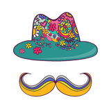 Colorful hat and mustache isolated on white. Drawing by hand. Stock Photos